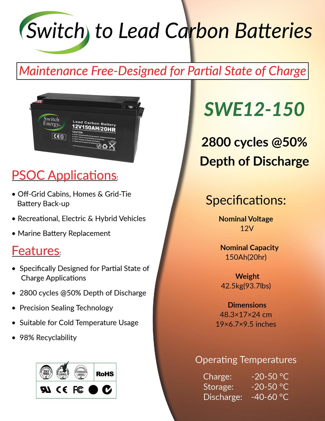 12V 150Ah lead carbon batteries