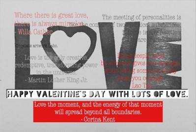 バレンタインカード2017 数名の偉人さんの名言をタイプしています