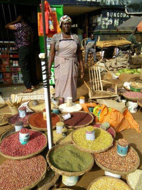 Josephine sells many types of cereals in the market