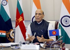 New Delhi, June 16 (ANI): Defence Minister Rajnath Singh addresses during the 8th ASEAN Defence Ministers Meeting (ADMM) Plus organized online by Brunei, in New Delhi on Wednesday. (ANI Photo)