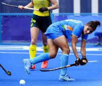 Japan, Aug 02 (ANI): Indian Woman Hockey player in action during India vs Australia match, at Tokyo Olympics 2020, in Tokyo on Monday. (ANI Photo)