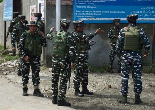 Jammu and Kashmir, Sep 10 (ANI): CRPF personnel in action after militants hurled a grenade, at Chanpora area in Srinagar on Friday. (ANI Photo)