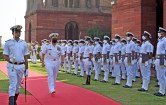 New Delhi, Oct 12 (ANI): US Navy Chief Admiral Michael M. Gilday inspects the guard of honour, at South Block, in New Delhi on Tuesday. (ANI Photo/ Shrikant Singh)