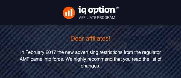 French new regulation for Binary Options advertising
