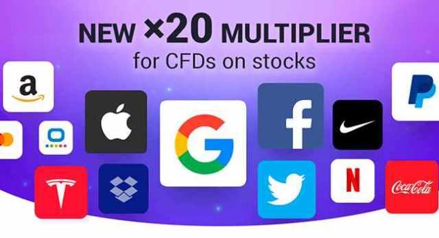 New x20 multiplier for CFDs on stocks