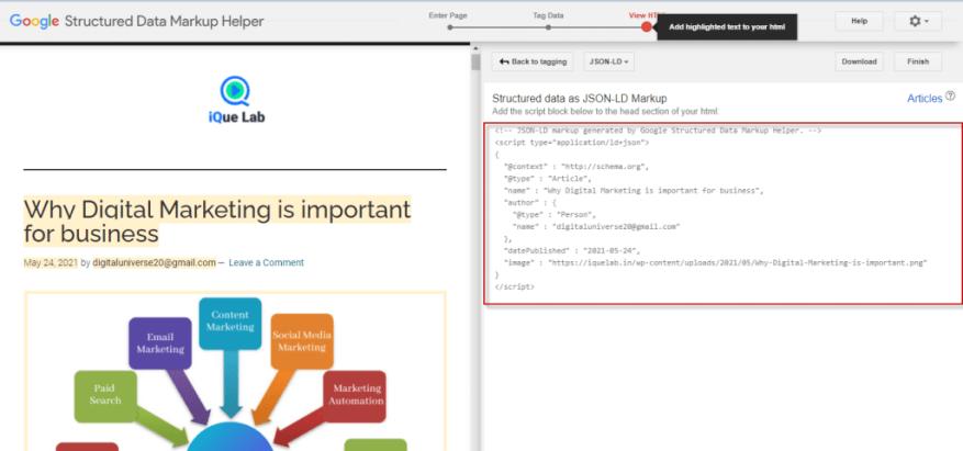 JSON LD code Schema Markup