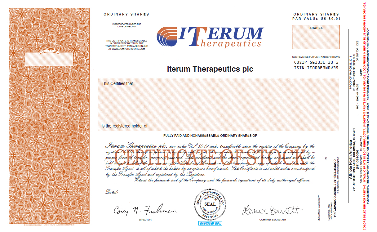 Form Of Ordinary Share Certificate Of Registrant