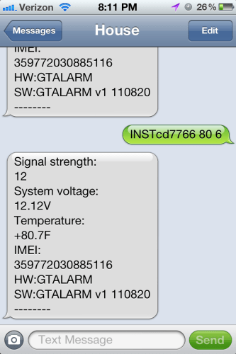 Sample GSM Text query and receipt in SMS.