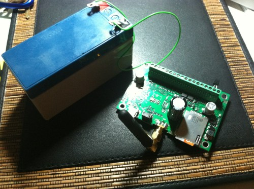 Mock up for checking out GSM monitoring module. Note it runs on 12VDC!