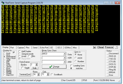 The output dropped onto my PC. Note: RealTerm allows me to enter in 31250 baud.. 8N1