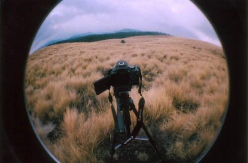 Cámara fotografica Canon en el nevado de Toluca