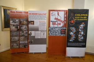 Displays about the 1988 massacre in Iran at a press conference in Oslo, Norway, on 4 November 2016