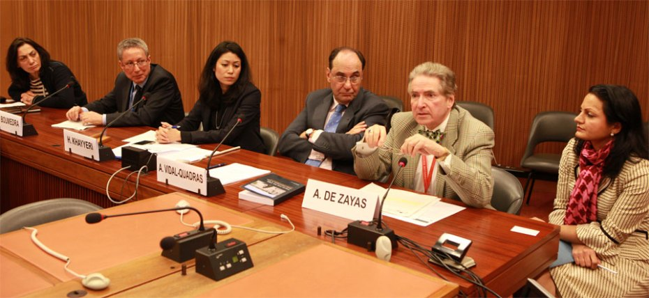Inquiry into the 1988 mass executions in Iran United Nations Human Rights Council session in Geneva March 2017 - DEZAYAS - Tahir Boumedra - Khayyeri - Vidal Alejo Quadras - Zinat Hashemi