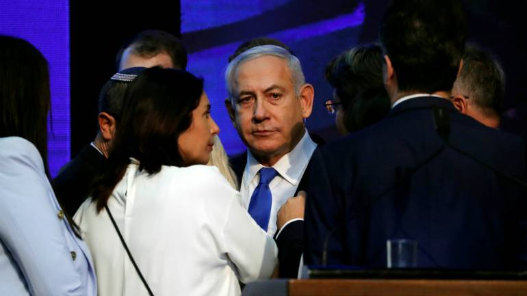 Israeli-Prime-Minister-Benjamin-Netanyahu-at-his-Likud-party-HQ-after-announcement-of-exit-polls-during-Israels-parliamentary-election-in-Tel-Aviv-Israel-Sept-18-2019-Reuters-770x433