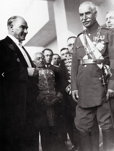 Ataturk and Reza Shah Pahlavi meeting for the first time in 1934, Istanbul, Turkey