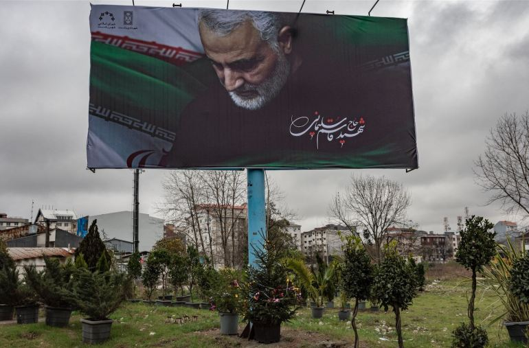 A billboard of General Qasem Soleimani.Four days after the