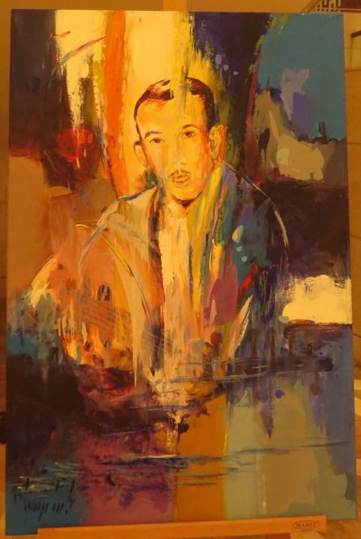 لوحة شخصية (بورتريه) للشاعر بدر شاكر السياب بريشة الفنان البحريني عباس الموسوي تم أهدائها للمهندس غيلان بدر شاكر السياب