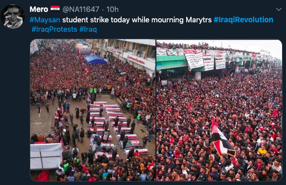 Twitter screenshot of Iraqi protests