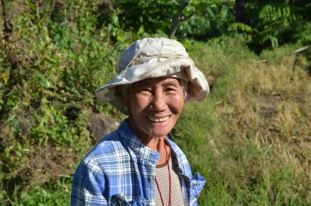 An elderly woman happy with her age