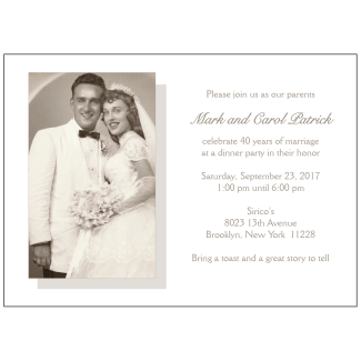 40th Wedding Anniversary Party Invitation with Photo