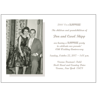 45th Wedding Anniversary Party Invitation with Photo