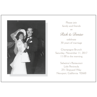 30th Wedding Anniversary Party Invitation with Photo