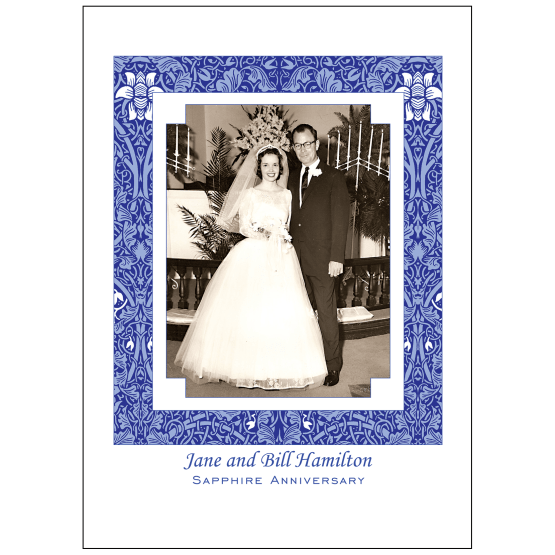 Cover of 45th Sapphire Wedding Anniversary Party Invitation with Photo