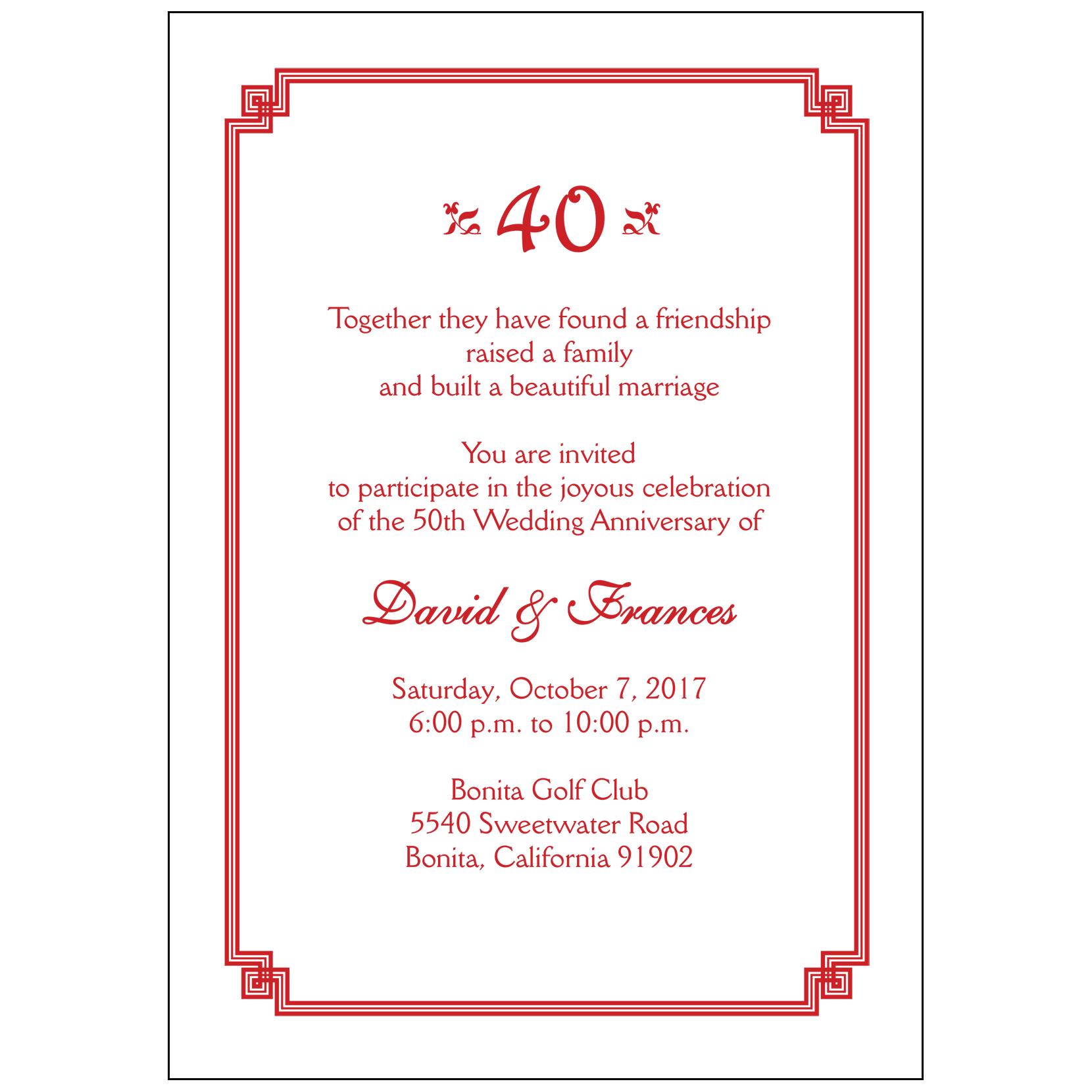 Anniversary Party Invitation Style AP005 IPV Studio