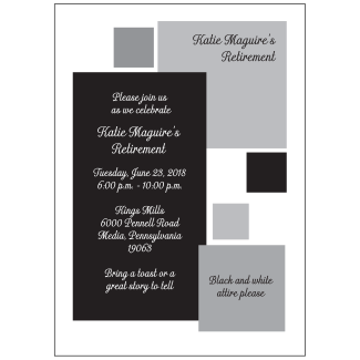 Black and White Retirement Park Invitation