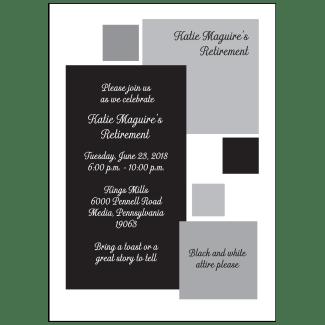 Black and White Retirement Park Invitation