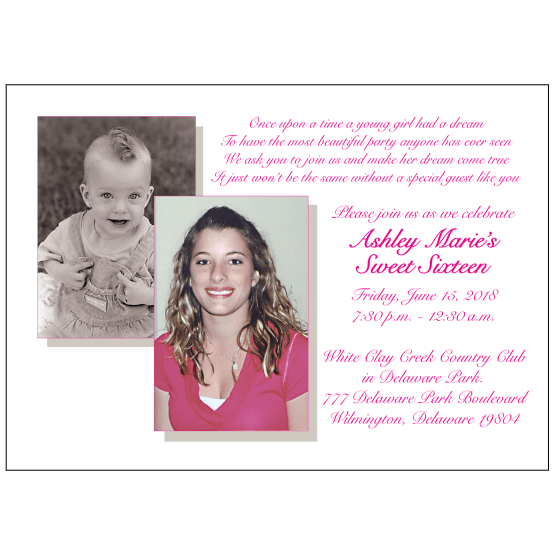 Sweet 16 Invitation with Baby Picture