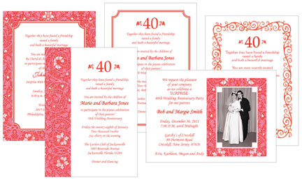40th Ruby Anniversary Party Invitations