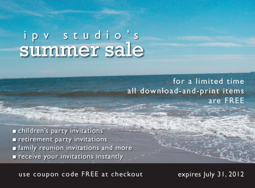 IPV Studio Summer Sale - Free Download and Print Invitations