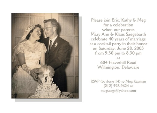 Fortieth Wedding Anniversary Party Invitation