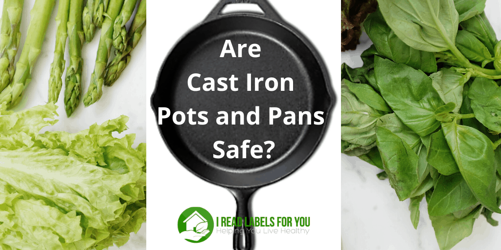 Are Cast Iron Pots and Pans Safe. A photo of a cast iron pan as safe non-stick cookware and green vegetables.