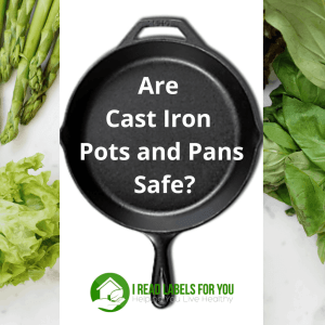 Cast Iron Pots and Pans Safety. A photo of a cast iron pan and green vegetables.
