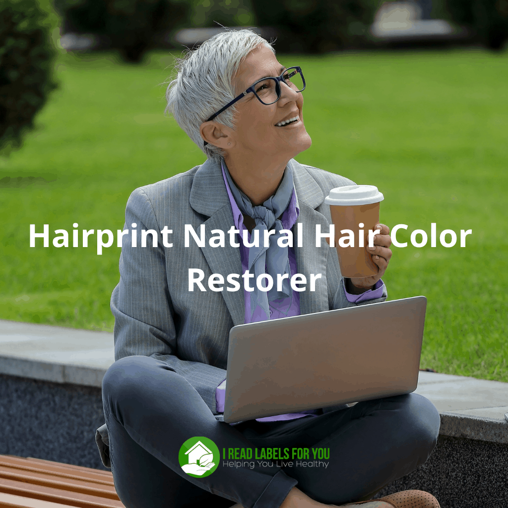 Hairprint hair color restorer. A photo of a grey-haired woman.