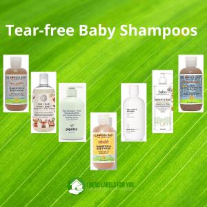 Tear-free shampoo. A picture with seven kinds of Tear-Free Baby Shampoo.