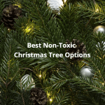 Best Non-Toxic Christmas Tree Options. A photo of a Christmas tree with cones and ornaments.
