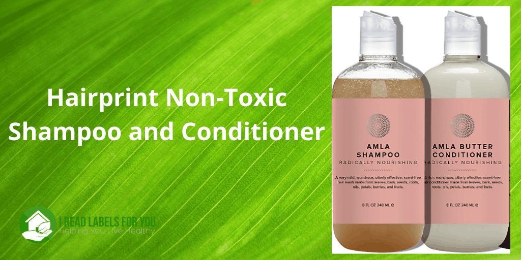 Hairprint Non-Toxic Shampoo. Picture of Amla plant-based shampoo and conditioner.