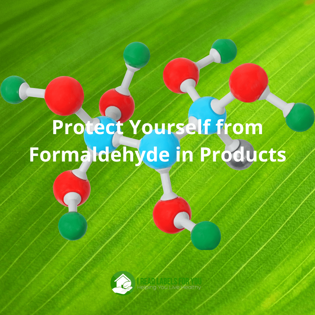 Protect Yourself from Formaldehyde in Products. A picture of a molecular formula of formaldehyde-releasing preservatives.