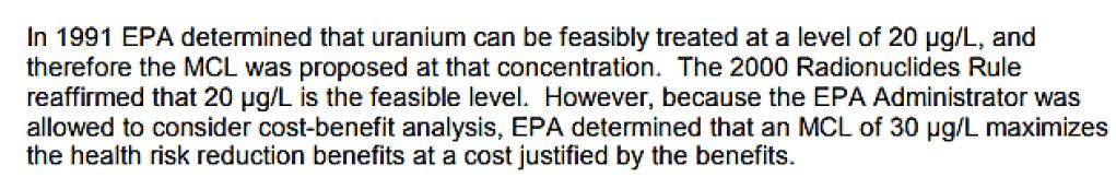 EPA considerations regarding uranium in drinking water