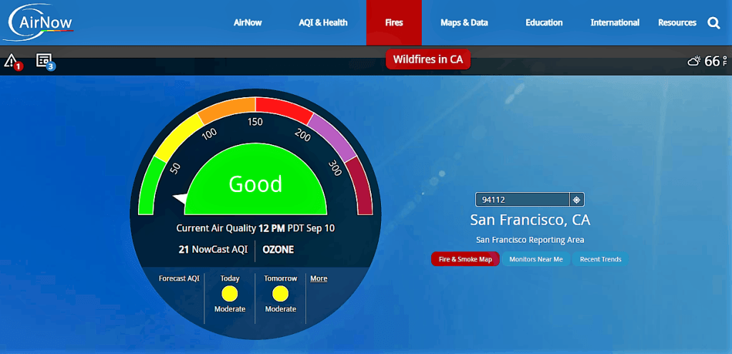 A picture of the air now government website showing air quality in San Fransisco. Protect your health from smoke in the air.
