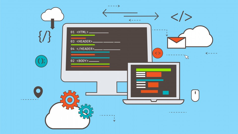 Web Development flat design illustration, Creative banner with laptop and computer screen showing app coding and programming.
