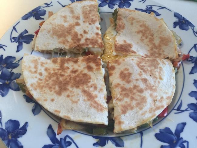 Quesadillas de queso pollo y pimientos