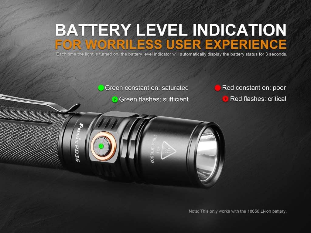 Fenix PD35 V2.0 Battery Level Indicator