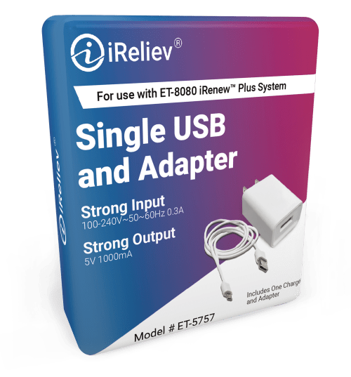 Single USB Charger and Adapter for iReliev TENS units