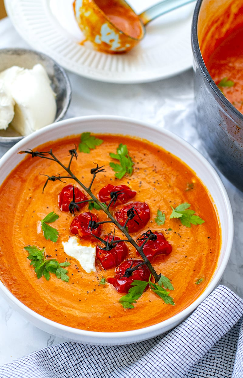 Roasted Cherry Tomato Soup With Creamy Mascarpone