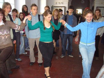 Students from the I Liceum school in Kozle, Poland learn Jewish dances. These are students of an Irena Sendler Award winner in Poland.