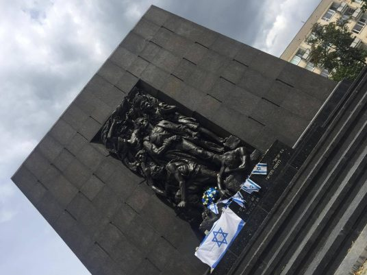 Warsaw Ghetto Uprising Memorial, located outside the History of Polish Jews Museum